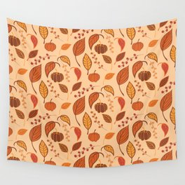 Leaves and pumpkins Wall Tapestry