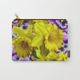 YELLOW SPRING DAFFODILS & LILAC PANSIES BLUE COLOR Carry-All Pouch