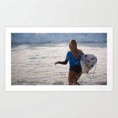 Alana Blanchard, Surfing during world tour of surf Art Print