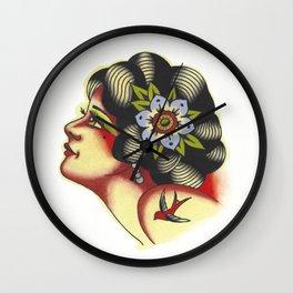Traditional Girl Head Tattoo Flash Wall Clock