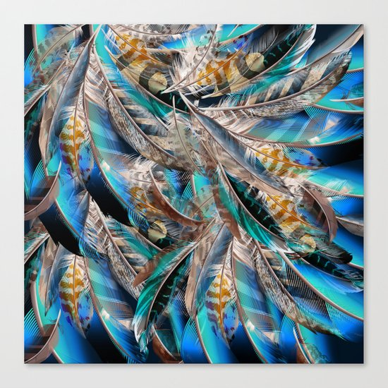 Fashion pattern with blue feathers. Trendy design Canvas Print