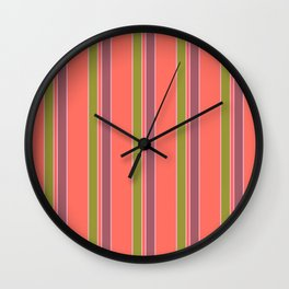 Coral Stripes Wall Clock