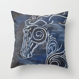 Horse and Stardust Throw Pillow