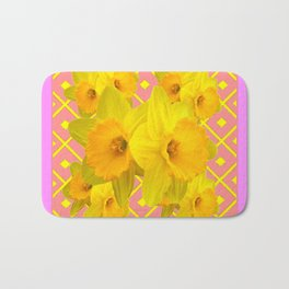 Pink Color Gold Daffodils on Coral Abstract Bath Mat