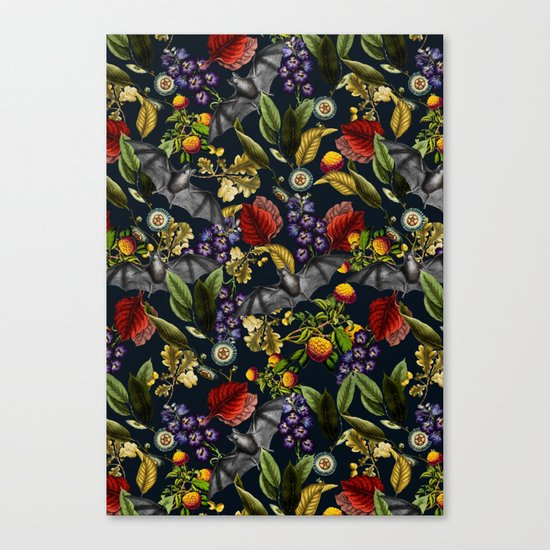 Flying Fox and Floral Pattern Canvas Print