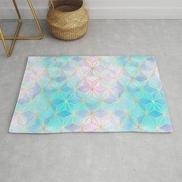 Iridescent Glass Geometric Pattern Rug
