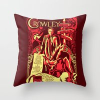 crowley Throw Pillows featuring Crowley by Tracey Gurney