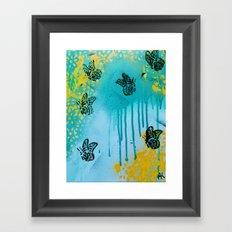 Teal Sky Tangerine Petals Framed Art Print