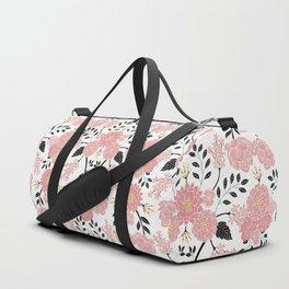 Pink, White, Black, Blue & Yellow Elegant Floral Pattern Duffle Bag