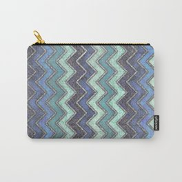Shades Of Blue & Silver Chevron Pattern Carry-All Pouch