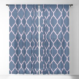 Navy and Pink Quatrefoil Palm Beach Preppy Sheer Curtain