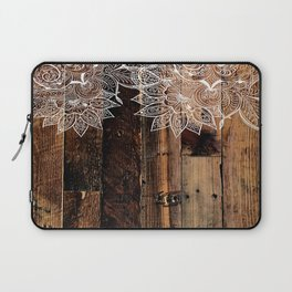 rustic country farmhouse chic vintage lace barnwood Laptop Sleeve