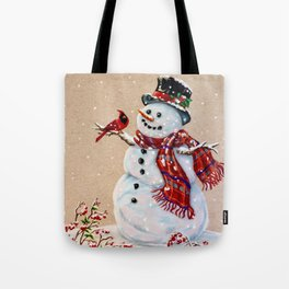 Snowman and cardinal Tote Bag 9a5072329f3d8