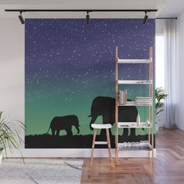 Elephant Silhouettes  Wall Mural