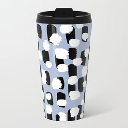 Spotted series messy abstract dashes blue black and white raw paint spots Travel Mug
