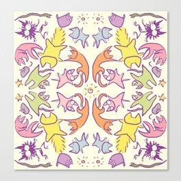 Symmetry Pastelcolor Cute Cats Canvas Print
