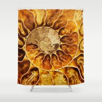 minerals Shower Curtains featuring AMAZING AMMONITE by Catspaws