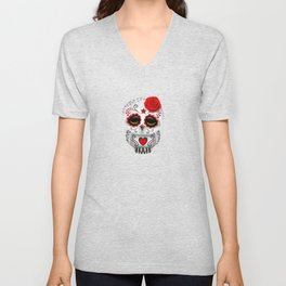 Adorable Red Day of the Dead Sugar Skull Owl Unisex V-Neck