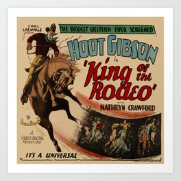 Vintage Western Movie Poster Rodeo King Art Print