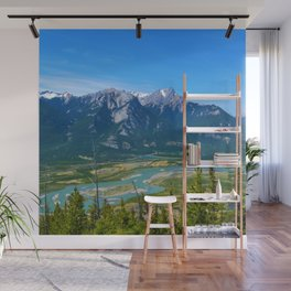 Overlooking the Athabasca River from the Morrow Peak Hike in Jasper National Park, Canada Wall Mural