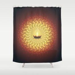 Сontemplation. Sacred geometry mandala, candle and lotus Shower Curtain