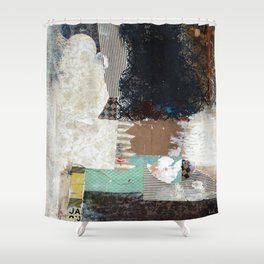 Another Vice Mixed Media Abstract Collage Art Shower Curtain
