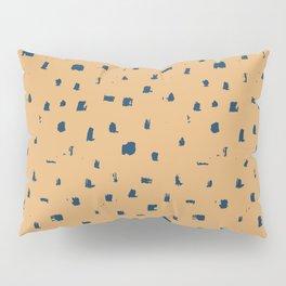 Blue spots on yellow minimalistic brushstrokes print Pillow Sham
