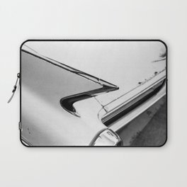 Classic Car Tail Fin, Photo, Black and White Laptop Sleeve