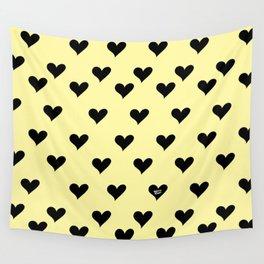 Retro Hearts Pattern Pastel Yellow Wall Tapestry