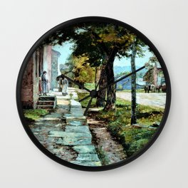 Street in Vernon - Theodore Clement Steele Wall Clock