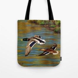 Mallard Ducks in Flight Tote Bag
