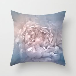 Blushing Blue and Cream Peony - Floral Throw Pillow