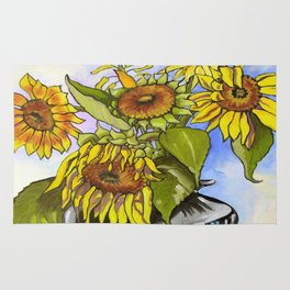 Sunflowers in a Black Vase by Amanda Martinson Rug