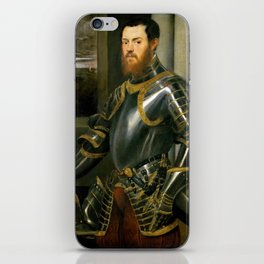 """Tintoretto (Jacopo Robusti) """"Young man in a gold-decorated suit of armour"""" iPhone Skin"""
