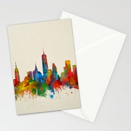 new york skyline watercolor 2 Stationery Cards