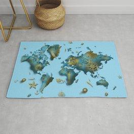 world map vintage decor blue Rug
