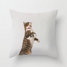 active cat playing Throw Pillow