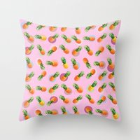 pineapple Throw Pillows featuring pineapple by mark ashkenazi