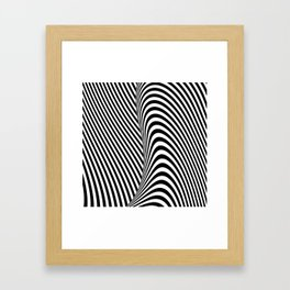 Black and White Pop Art Optical Illusion Lines Framed Art Print