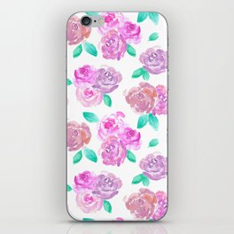 Purple and Pink Watercolor Roses Floral Pattern iPhone Skin