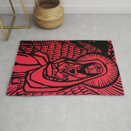 Me - Red - Traditional Surrealism Print Rug