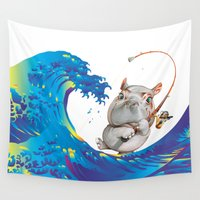 hokusai Wall Tapestries featuring Hokusai Rainbow & Hippopotamus Fishing  by FACTORIE