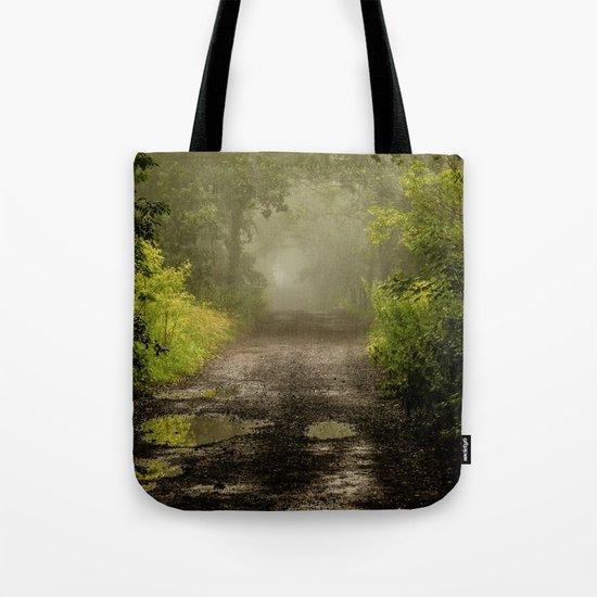 Misty Woodland Lane II Tote Bag