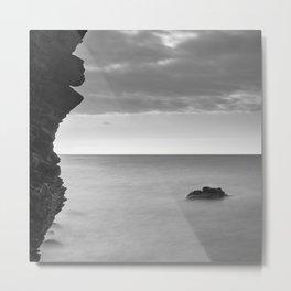 Big cliff. BW Metal Print