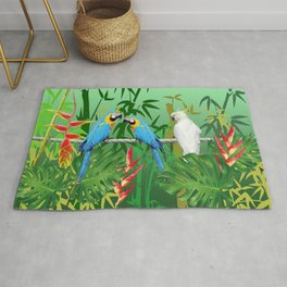 Jungle leaves and Bamboo with Macaw Rug