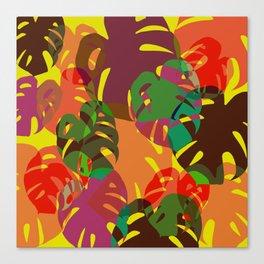 multicolored monstera Canvas Print