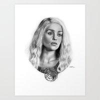 targaryen Art Prints featuring Daenerys Targaryen by Mutemouia