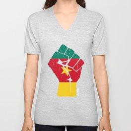Team Cameroon Flag Tee Shirt Unisex V-Neck