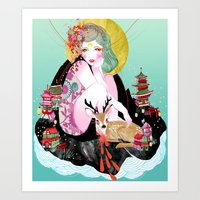 fawn Art Prints featuring Fawn by Jessica Singh Illustration