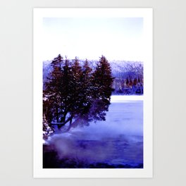 Winter Stream in the northern boreal forest Art Print